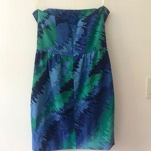 Shoshanna Blue & Green Print Strapless Dress Sz 6